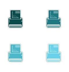 Set of paper stickers on white background fax vector