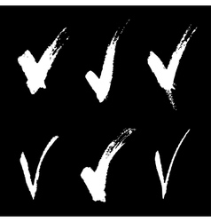 Set of white hand drawn v signs vector