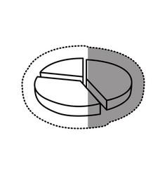 Silhouette circular statistic graph icon vector