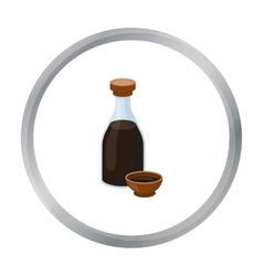 Soy sauce icon in cartoon style isolated on white vector image