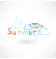 Summer rainbow grunge icon vector