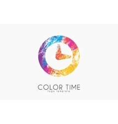 Time logo color time logo design clock design vector