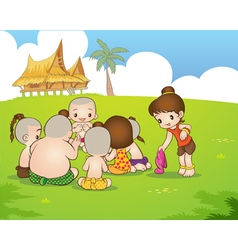 Traditional thai boyand girl are sitting playing vector