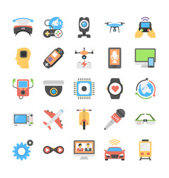 Virtual reality and drones flat icons collection vector