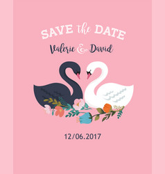 Wedding with swan save the date card vector