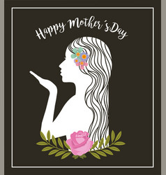 White silhouette woman kiss flowers decoration vector