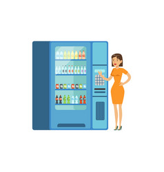 Young woman standing next to automatic vending vector