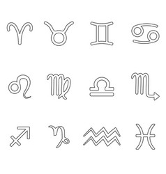 zodiac signs for astrology simple set of outline vector image