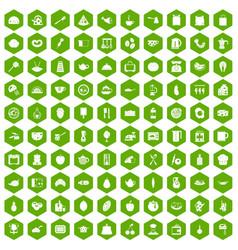 100 cooking icons hexagon green vector