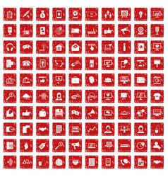 100 help desk icons set grunge red vector image vector image