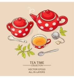 tea set red vector image