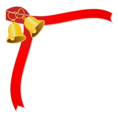Golden wedding bell and red ribbon vector image
