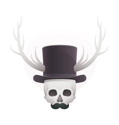 Skull in with horns and a mustache vector
