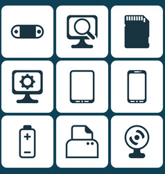 Set of 9 computer hardware icons includes pc vector