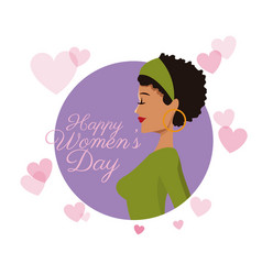 happy womens day girl curly hair card purple vector image