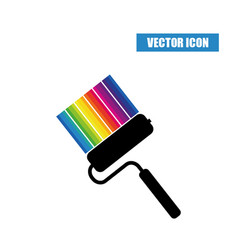 Paint roller icon with strips of paint of vector