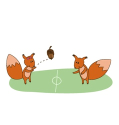 Squirrels play with acorn on the field vector