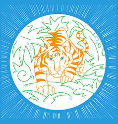 Tiger icon in nature icon vector