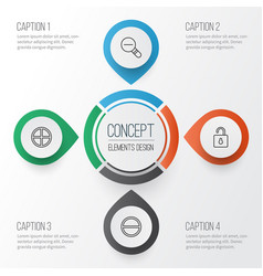 Web icons set collection of unlock zoom out vector