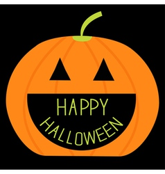Big pumpkin with happy halloween text inside card vector