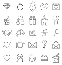 Wedding line icons on white background vector image
