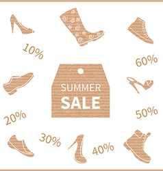 Summer shoe sale icons vector