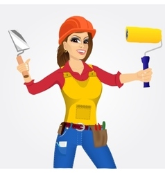 Plasterer woman with trowel and paint roller vector