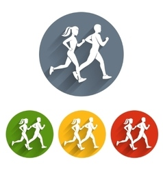 Running silhouettes icon vector