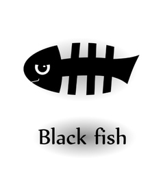 Icon black skeleton fish vector