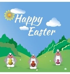 Three easter bunny in the forest glade vector