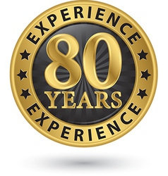 80 years experience gold label vector image