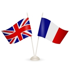 Table stand with flags of england and france vector