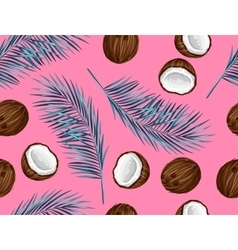 Seamless pattern with coconuts tropical abstract vector