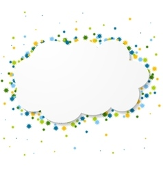 White blank paper cloud with colorful circles vector image