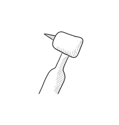 Dental drill sketch icon vector