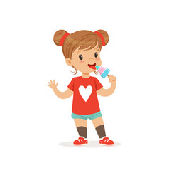 adorable baby girl eating ice-cream on stick vector image vector image
