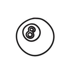 Billiard ball sketch icon vector
