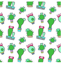 Blooming cactus seamless pattern on white vector
