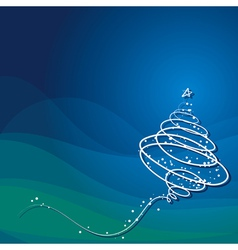 christmas tree on dark blue background vector image vector image