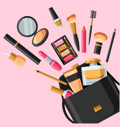 Cosmetics for skincare and makeup out of bag vector