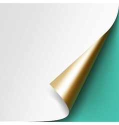 Curled golden corner of white paper mock up vector
