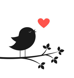 cute bird and red heart vector image vector image