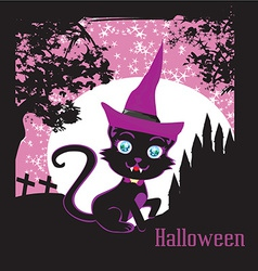 cute black kitten wizard vector image vector image