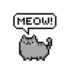 cute kitten domestic pet pixel saying meow vector image