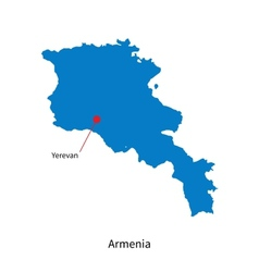Detailed map of armenia and capital city yerevan vector