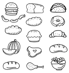 Doodle of various food vector image vector image