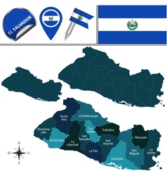 El salvador map with named divisions vector