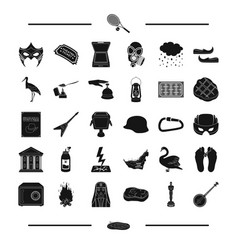 Figurine banjo lake and other web icon in black vector