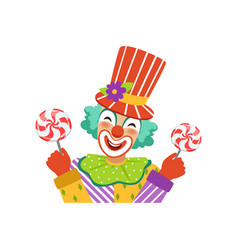 funny circus clown in traditional makeup holding vector image