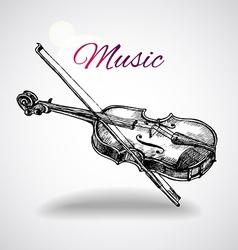 hand drawn violin vector image